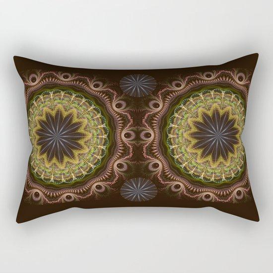 Groovy fractal mandala with tribal patterns Rectangular Pillow