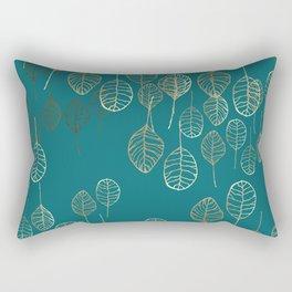 Golden Leaves - Teal Rectangular Pillow