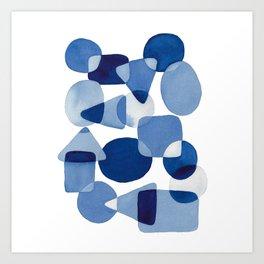 Blue Watercolour Geometric Art Print