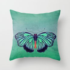 Butterfly in Spring Green Throw Pillow