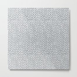 Hand Knit Light Grey Metal Print