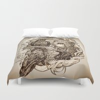 crow Duvet Covers featuring Crow by Alice Macarova