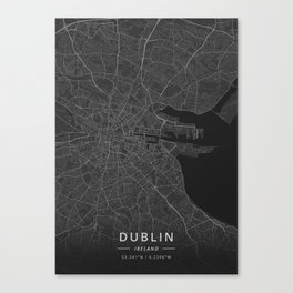 Dublin, Ireland - Dark Map Canvas Print