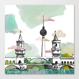 Oberbaum Brücke and TV Tower - Berlin - East/West boundary - East Side Gallery Canvas Print