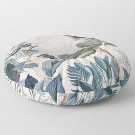 Tropical Birds Paradise Vintage Botanical Illustration Floor Pillow