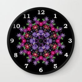 Clematis carousel on black (Number 3) Wall Clock