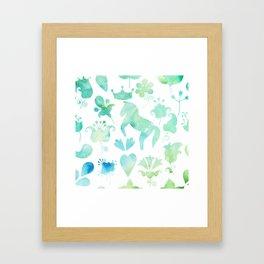 Watercolor horse and ornamental plants Framed Art Print