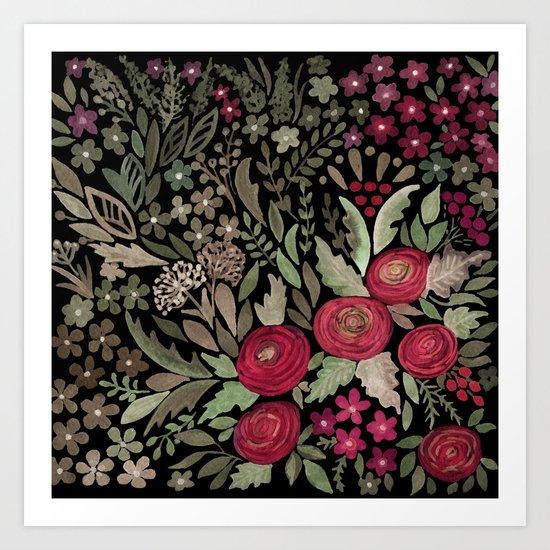 Watercolor . Night garden . Art Print