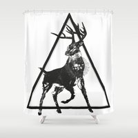 totem Shower Curtains featuring Totem by Mrk Laboratory