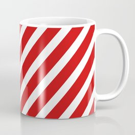 Red Diagonal Stripes Coffee Mug