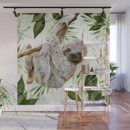 Baby Sloth Just Hangin' Around Wall Mural