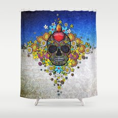 Dia de los Muertos en la Playa Shower Curtain