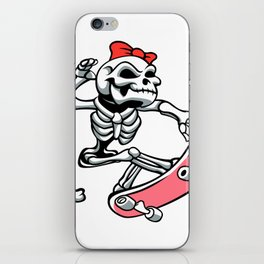 Skull girl ride a skateboard iPhone Skin
