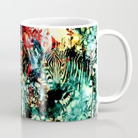 zebra Mugs featuring ZEBRA by RIZA PEKER
