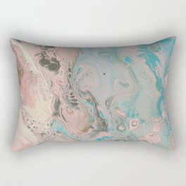 Fluid Art Acrylic Painting, Pour 17, Pastel Pink, Blue, Gray & White Blended Color Rectangular Pillow