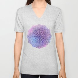 big paisley mandala in light purple Unisex V-Neck