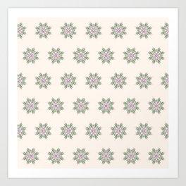Blooming Florals in Beige Art Print