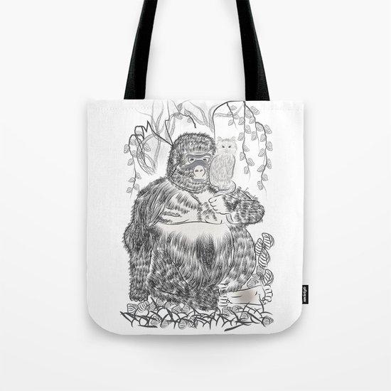 Jungle Gorilla and his Cat Tote Bag
