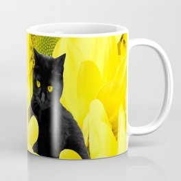 Black Cat Yellow Flowers Spring Mood #decor #society6 #buyart Coffee Mug