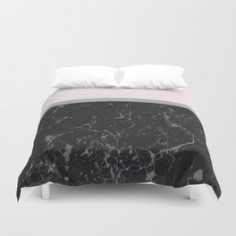 Grey Black Marble Meets Romantic Pink #1 #decor #art #society6 Duvet Cover