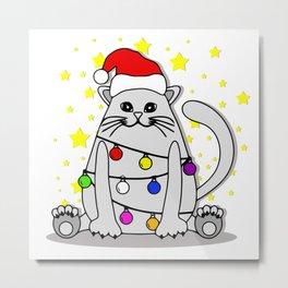 White Cat Christmas Metal Print