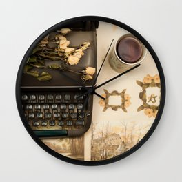 Little roses over an old typewriter and tea (Retro and Vintage Still Life Photography) Wall Clock