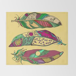 Bohemian Feathers on Honey Yellow - Hand-drawn Illustration Throw Blanket