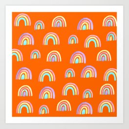 Rainbows in Orange Land  Art Print
