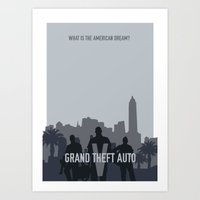 grand theft auto Art Prints featuring Grand Theft Auto V Poster by Carys Jordan