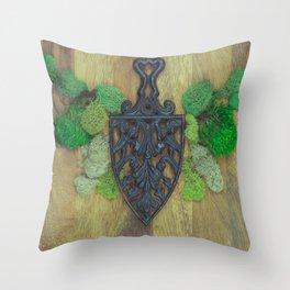 cast iron shield Throw Pillow