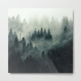 Mountain pine forest in fog, cloud and rain - vintage filtered photo Metal Print