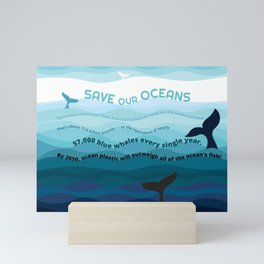 Recycle Plastic, Save our Oceans Mini Art Print