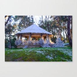 Kiosk in winter Canvas Print