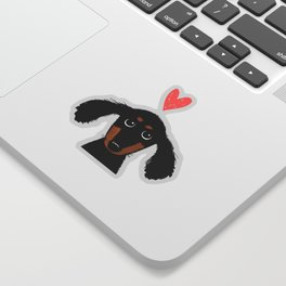 Dachshund Love | Longhaired Black and Tan Wiener Dog Sticker