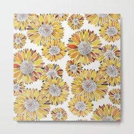 Sunflower Blooms – Yellow Metal Print