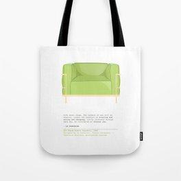 Le Corbusier Lounge Chair in Pantone Greenery Tote Bag