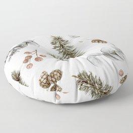 Retro Cozy Winter Cabin Water-colour Pattern Floor Pillow