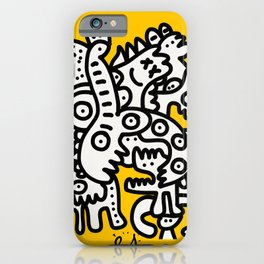 Black and White Cool Monsters Graffiti on Yellow Background iPhone Case