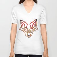 celtic V-neck T-shirts featuring Celtic fox - celtic knot by Ioreth