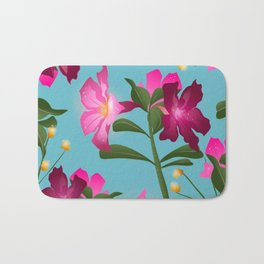 Desert Rose House Plant/Tropical Flower Pattern/Pink, Turquoise and green Bath Mat