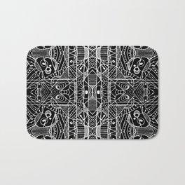 Black and White Tribal Geometric Pattern Print Bath Mat