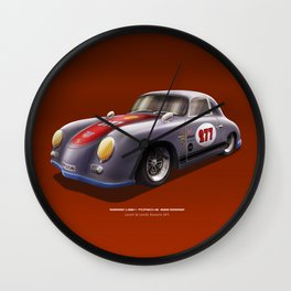 Porsche 356 Illustration Wall Clock