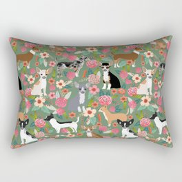 Chihuahua mixed coats dog breed floral pet art must have chiwawa lover gifts Rectangular Pillow