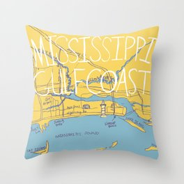 Mississippi Gulf Coast Map Throw Pillow