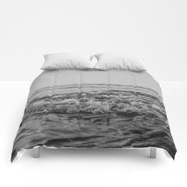 Black and White Pacific Ocean Waves Comforters