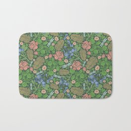 Blue sweet peas with pink roses and dragonflie on green background Bath Mat