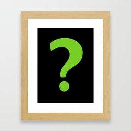 Enigma - green question mark Framed Art Print