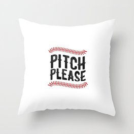 Pitch Please Funny Baseball Softball Season Throw Pillow