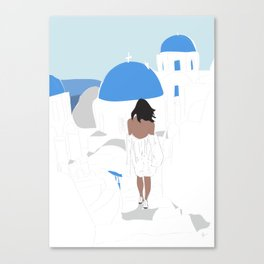 Fashion Girl Wandering the Steps of Santorini, Greece Canvas Print
