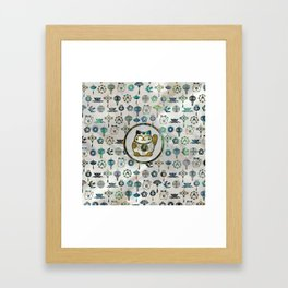 Maneki Neko Lucky cat on  pearl and abalone Framed Art Print
